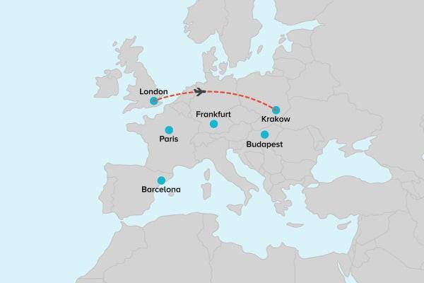 Flight London to Krakow