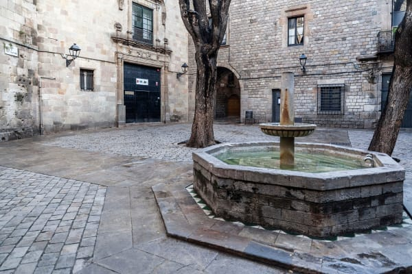 *EDITORIAL USE* street view, square Sant Felip Neri in gothic quarter of Barcelona